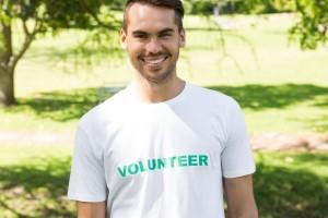 Male volunteer in park